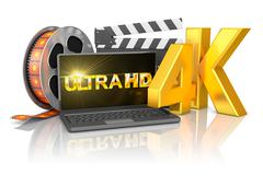 4K laptop and film strip Stock Illustration