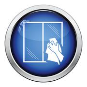 Hand wiping window icon Stock Illustration