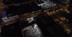 Bronx Subway Aerial Shot At Night With Fireworks Stock Footage