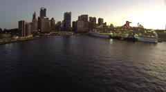 Aerial Sydney CBD Sunset in Circular Quay Stock Footage