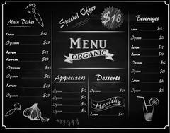 full vector template Chalkboard menu - stock illustration