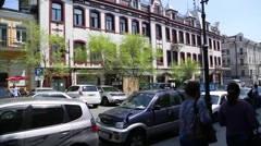 Historical part of the city of Vladivostok with old buildings, Russia Stock Footage