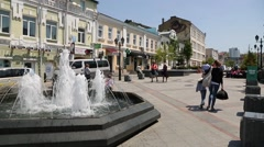 Pedestrian street Admiral Fokin in of Vladivostok, Russia Stock Footage
