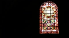 Italy turbigo inside  church religion building the colorated glass and window Stock Footage