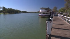 Paddle steamer at the wharf on the Murray River at Mildura Stock Footage