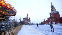 Winter Red Square, Kremlin and the Saint Basil's Cathedral. Winter day Stock Footage