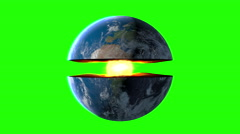 Earth core. inner structure with geological layers. Green screen footage Stock Footage