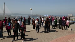 Tourists to the observation deck in Vladivostok, Russia Stock Footage