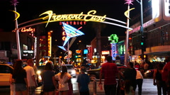 Busy Crowd on Fremont Street - Las Vegas Stock Footage