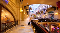 Interior of Moscow GUM, fancy shopping mall. New Year and Christmas holidays Stock Footage