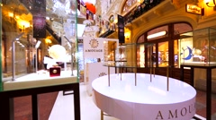 Amouage stand-alone store in Moscow GUM, huge shopping mall Stock Footage