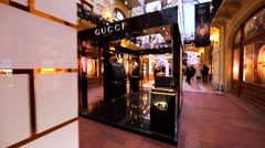 Gucci and Maison Francis Kurkdjian stores in Moscow GUM, big shopping mall. Stock Footage