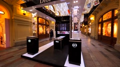 Dior, Guerlain and Korloff stores in Moscow GUM, big shopping mall. Stock Footage