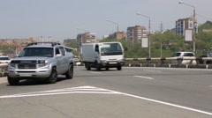 Cars on the roads of the city of Vladivostok, Russia Stock Footage