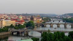 Bridges of Prague Including the famous Charles Bridge Stock Footage