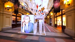 Swarovski store in Moscow GUM, huge shopping mall Stock Footage
