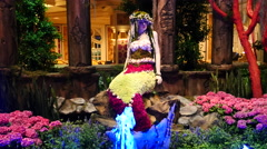 Mermaid on Display with Fountains Stock Footage