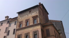 Ancient House of the Merchant in Piazza delle Erbe in Mantua Stock Footage