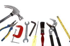 Assortment of tools on plain background Stock Photos