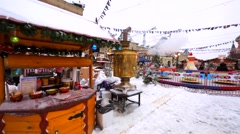Decorated Christmas fair on the Red Square and view of huge golden samovar. Stock Footage