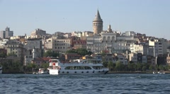view of Galata tower over Golden Horn bay, Istanbul, Turkey - stock footage