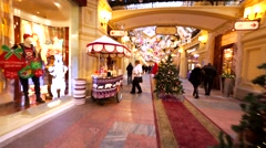 Bosco cafe with sweets and ice-cream and customer. Moscow GUM, fancy mall Stock Footage