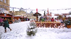 Christmas fair on the Red Square, local food store in the open air Stock Footage