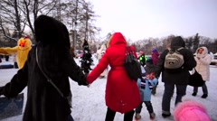 Children and their parents celebrating New Year and Christmas on VDNH. Stock Footage