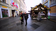 Walking along the beautifully decorated Nikolskaya street Stock Footage