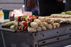 Corn, pepper and onion kabobs Stock Photos