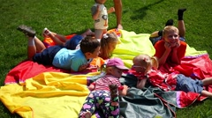 Children playing in a meadow in the Park Stock Footage