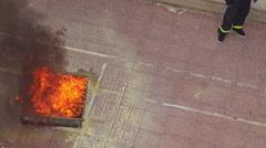 Closeup Fire Brigade Training Man Extinguishes Model Fire Stock Footage