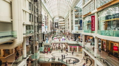 Time Lapse of Shoppers Inside Busy Mall in Toronto, Ontario, Canada - Zoom Out Stock Footage