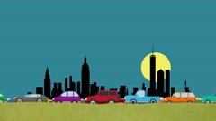 Looping Cartoon Vector of Cars in Heavy Traffic Driving on a New Your Skyline Stock Footage