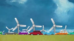 Cartoon Vector of Cars in Heavy Traffic Driving on Wind Energy Windmills Stock Footage