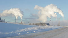 Environmental pollution carbon in the winter - stock footage