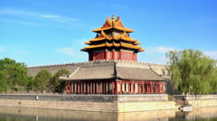 Corner Tower in Imperial Palace in Beijing, China Stock Footage