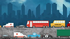Cartoon Vector of Cars in Heavy Traffic on a City Skyline Background Stock Footage
