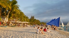UHD sunset shot of White Sand beach Boat Station 3, Boracay island, Philippines Stock Footage