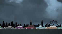 Looping Cartoon Vector of Cars in Heavy Traffic Driving on London Skyline Stock Footage