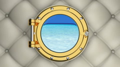 3D animation of turquoise sea view through the porthole of luxurious yacht Stock Footage