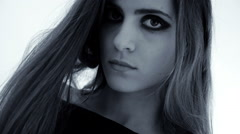Fashion model with makeup camera moving slowly black and white slow motion lo Stock Footage