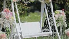 Wedding decoration outdoor, swing Stock Footage