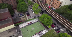 Bronx Subway Aerial Shot With Basketball Court Stock Footage