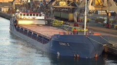 Ship loading at the port expects. On the deck of a person goes Stock Footage