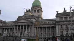 Undershot of Argentinian Congress at dusk Stock Footage