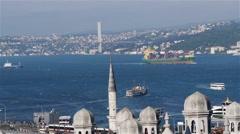 Istanbul. Sea traffic in Bosphorus strait - stock footage