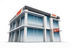 Generic store front. 3D illustration Stock Illustration