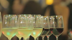 Coctail party wine out of focus people - stock footage