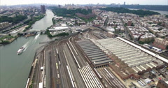 Bronx Subway Aerial Shot Of Train Yard Stock Footage